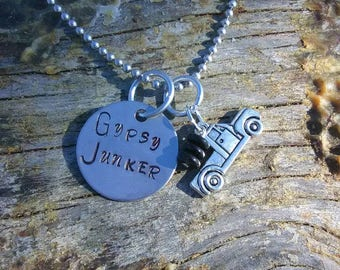 Gypsy Junker hand stamped pendant. Your choice of either Necklace or Keychain