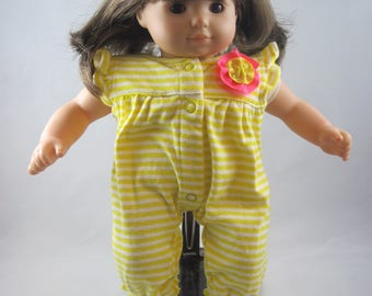 Adorable Yellow Jumper for a Bitty Baby or other similarly sized doll. So cute! Made from upcycled baby outfit. Ready to ship.