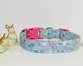Easter Dog Collar, Rabbit, Bunny, Fabric, Cute, Spring, Gift, Designer Dog Accessories, Pet Accessories, Adjustable Fabric Collar