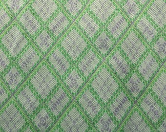 """Vintage Green Polyester Knit Fabric // 5 yards x 68"""" > unused > argyle, plaid pattern- lime green, chartreuse with gray"""