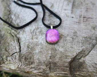 Pink/ yellow dichroic glass necklace