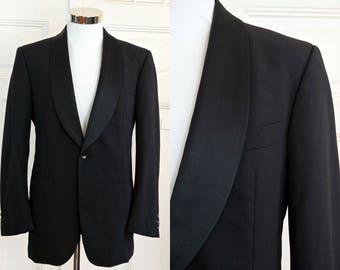 German Vintage Black Tuxedo Jacket, Singled-Breasted European Dinner Jacket, Silk Shawl Collar Smoking Jacket, Tux Blazer: Size 38 US/UK