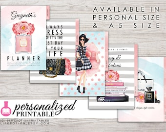 Printable Planner Dividers - A5 or Personal Size - Personalized - Set of 5 - Design: Mademoiselle