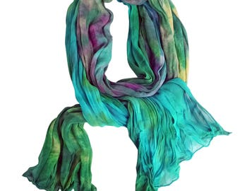 Green scarves, green silk scarf, green chiffon scarf, silk chiffon, crinkle chiffon, teal, turquoise, purple, gold, spring scarf, colorful