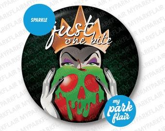 "3"" Snow White Evil Queen Poison Apple Sparkle Button"