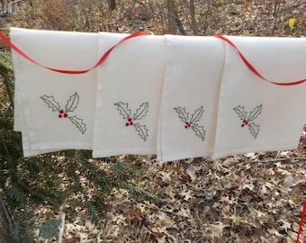 4 Hand embroidered Christmas Holly Leaves and Berries cloth napkins