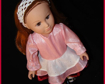 "Pink Dress for American Girl Style 18"" Dolls with Burgundy & White Eyelet! Outfit for School or Dress Up Doll Clothes."