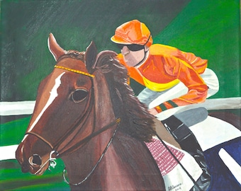 """Original Acrylic  Animal/Horse/Racing Painting on Canvas  Titled """"Post Position"""" 16"""" X 20 """""""