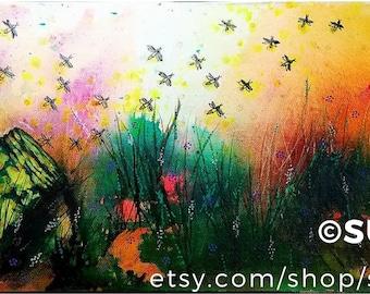 "Peter Rabbit Firefly ""Releasing Spring"" 10""x24"" Original on canvas"