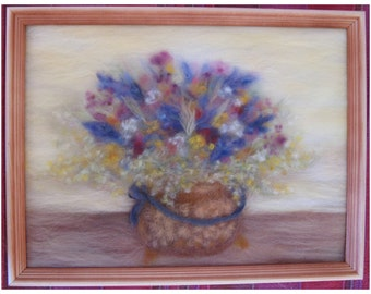 Flowers in a copper pot - wool fiber art, wall hanging, wool picture