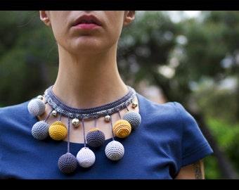 Boho Statement Necklace, Crochet Necklace, Wooden Bead Pendant, Crochet Necklace, Ethnic Necklace, Pure Cotton Yarn Shades Of Grey