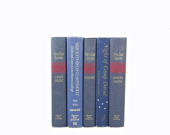 Faded Blue Denim BOoks, DECORATIVE Books, Old Book Set, Vintage Book Decor, Book Collection, Instant Library Books shelf decor