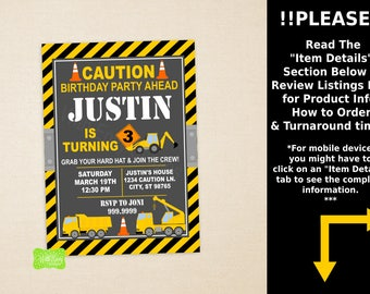 Construction Party Invitation - Construction Birthday Invite - Construction Thank You Card - Digital & Printed Cards Available