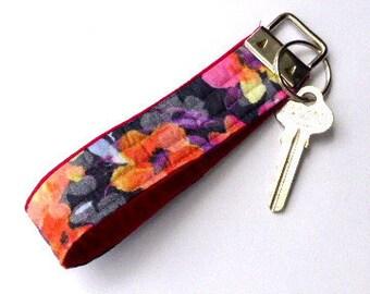 Fabric key fob, key fob, key fob wristlet, key fob bracelet, key chain, fob for keys, key carrier, Monet key fob, key fob chain, key ring