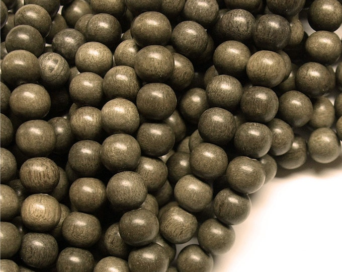 Wood Bead, Round 8mm, Graywood - Five 16 Inch Strands (WDRD-08GR)