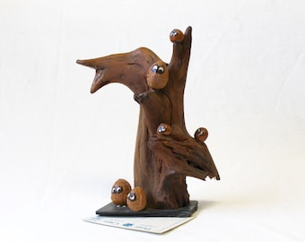 1970s Kitschy Owl Tree Sculpture, Vintage Driftwood and Nut Souvenir