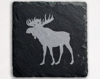 Laser Engraved Moose Maine Vermont Deer Elk Slate Canada Coasters