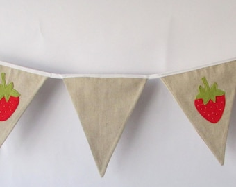 Linen Strawberry Bunting, Party, Wedding, Fabric, Personalised ,Home Decor, Handmade, Fabric, Home, Home and Garden, Free Postage