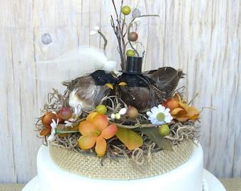 Fall Wedding Cake Topper, Lovebirds Rustic Nest, Bride Groom, Burlap, Woodland, Autumn, Birds