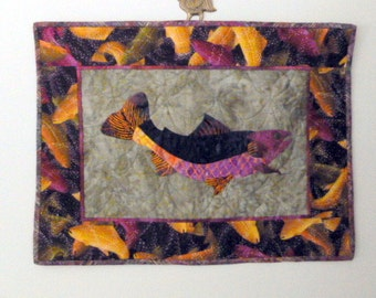 SALE Adirondack Rainbow Trout Quilt Wall hanging Hand appliqued and hand quilted