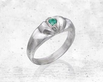 Silver Super Hero Ring W/ Tourmaline Gemstone- Solitaire Ring, Green, Pink, Blue, Elegant, Classic Ring, Sterling SIlver, Handmade, Eye Ring