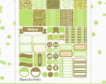 GREEN PRINTABLE Planner Stickers instant Download | Pdf and Jpg Format