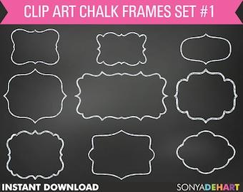 80% OFF SALE Chalk Frame Clipart, chalkboard frames, frame clip art, chalkboard clipart, chalkboard graphics, digital frames