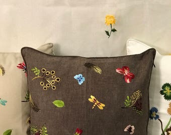 Butterfly Dragonfly - Hand Embroidery Cushion Cover