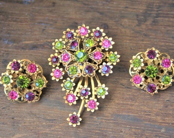 Purple Pink Green Gold Brooch and Earrings, Vintage Demi Parure Set Pastel Pin and clip on earrings