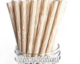 Wood Paper Straws | WOOD GRAIN Paper Straws | Woodland Baby Shower |  Lumberjack BIRTHDAY Party | Birthday Party | Wood Straws