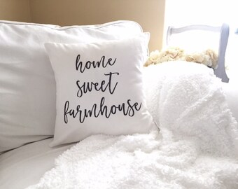 Home Sweet Farmhouse Pillow Cover -  18 x 18, Farmhouse Pillow, Natural Pillow, Farmhouse Style