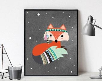 Fox Nursery Art Printable, art print for baby,  fox nursery digital download, baby fox printable art, digital nursery animal, gift for baby