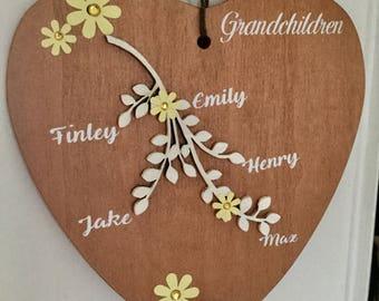 Personalised Wooden Grandchildren Heart