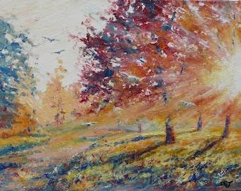 Tableau peinture a l huile etsy - Peinture a l huile sur bois ...