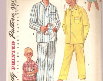 VINTAGE Simplicity Sewing Pattern 1434 - Children's Clothes - Boy's Sleepwear, Pajamas Size 12