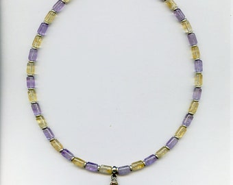 Ametrine and Citrine Necklace with Silver Cross Pendant