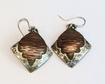 Hammered Copper and Fine Silver Earrings