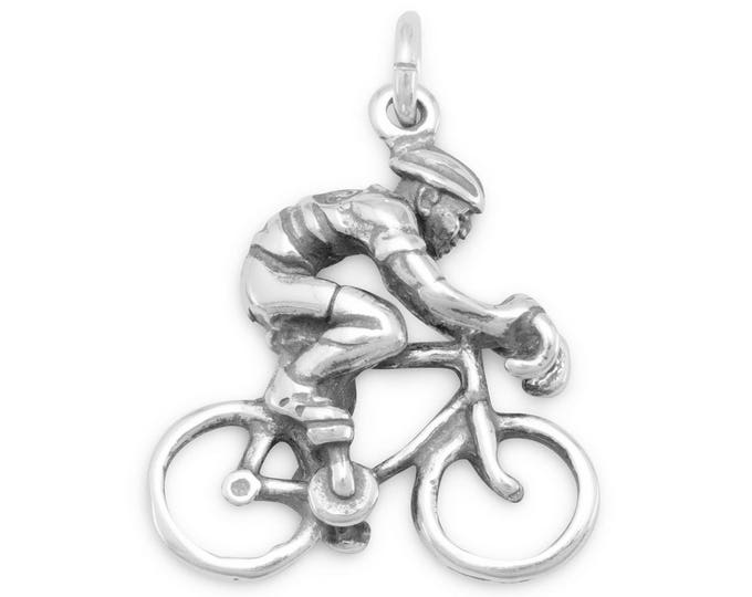 Featured listing image: Sterling Silver Cyclist Bicycle Rider Charm Pendant Sport Race 3D