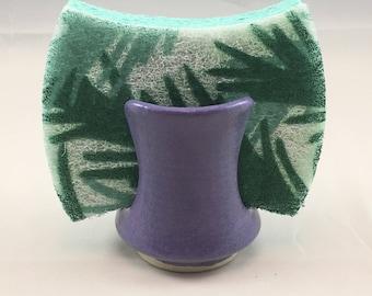 "Purple ""Orchid"" pottery sponge holder handmade wheel thrown stoneware kitchen sink organizer, scrubby rest, drying cup"
