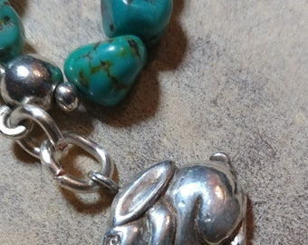 """Turquoise Nuggets with a Solid Silver Bunny Bracelet, 7.5"""""""