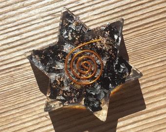 BLACK TOURMALINE Orgone Gemstone Star Charging Plate