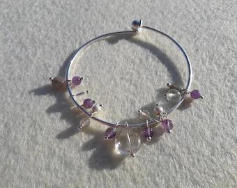 Charm bracelet beads of Crystal rock, Amethyst, labradorite.