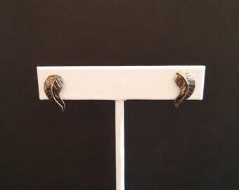 VINTAGE Navajo Leaf sterling silver post earrings