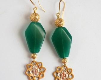 Green Glass Jade and Hand Painted Cherry Blossom Earrings, Asian Inspired Peking Glass Earrings, Green Earrings, Floral Earrings, SRAJD