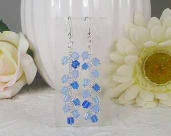 Swarovski Earrings with Cube Dangles Shades of Blue Gifts for Her