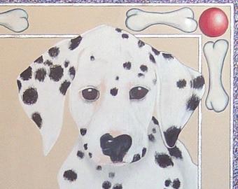 Dalmatian Puppy Dog Drawing- Whimsical Original Pencil Art- 17 x 17 inch- Framed Under Glass