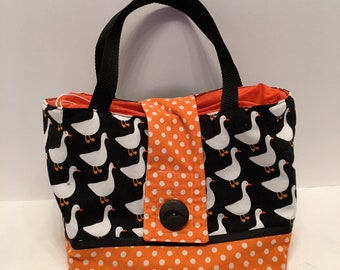 "LBL11- Tall Lunch Bag- Large: ""Honk Honk""  washable insulated lunch bag with drawstring closure at the top."