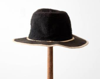 vintage children's black felt hat