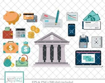 Finance icons clipart, Money clipart, savings clipart, Vector graphics, Digital Clipart, Digital Images - CL 077