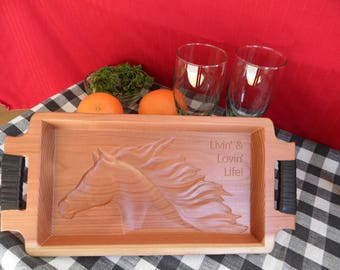 Horse tray Redwood with leather wrapped handles - Livin' & Lovin' Life!
